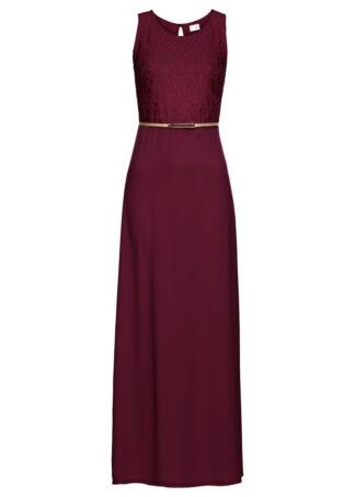 Długa sukienka wieczorowa z paskiem bonprix czerwony klonowy