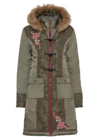 Płaszcz z haftem bonprix oliwkowy