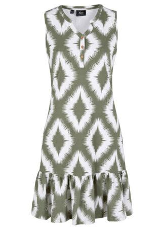 Sukienka z dżerseju bonprix oliwkowy z nadrukiem