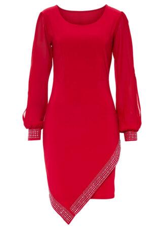 Sukienka z kamieniami bonprix czerwony