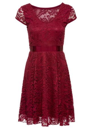 Sukienka z dżerseju z koronką bonprix ciemnoczerwony