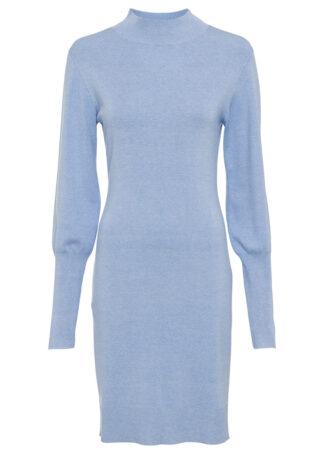 Sukienka dzianinowa z rękawami balonowymi bonprix pudrowy niebieski - matowy niebieski melanż