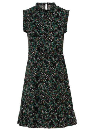 Sukienka z nadrukiem bonprix czarno-zielony w kwiaty