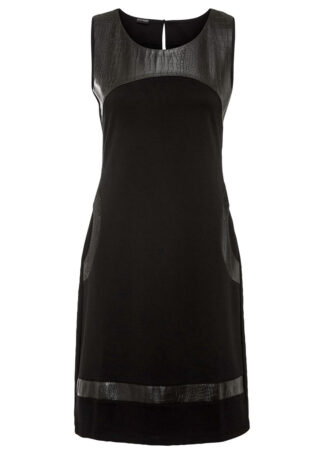 Sukienka z wstawką ze sztucznej skóry bonprix czarny