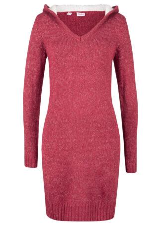 Sukienka dzianinowa z miękkim kapturem bonprix czerwono-biały melanż