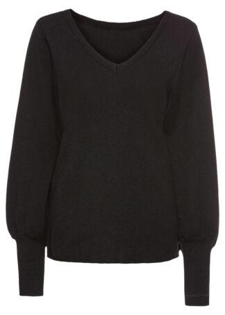 Sweter z balonowymi rękawami bonprix czarny