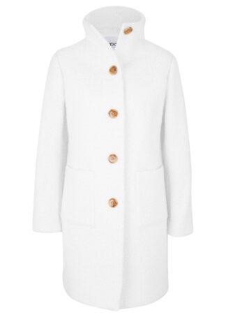 Płaszcz z przędzy boucle z kieszeniami bonprix biel wełny