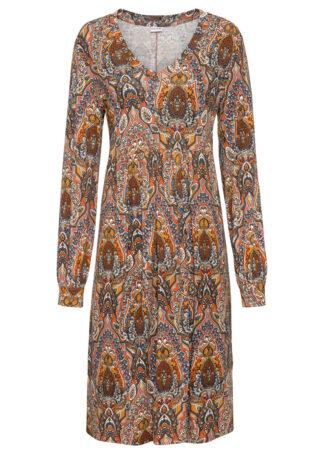 Sukienka z dżerseju w deseń paisley bonprix czerwony w kolorowy deseń paisley
