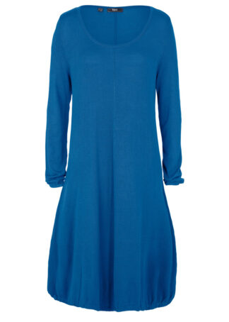 Sukienka dzianinowa w fasonie o linii litery O bonprix błękit królewski