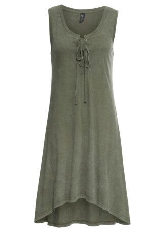 Sukienka z dżerseju ze sznurowaniem bonprix oliwkowy