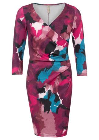 Sukienka ołówkowa z nadrukiem bonprix jeżynowy sorbetowy - stary jeżynowy - bordowy w kwiaty