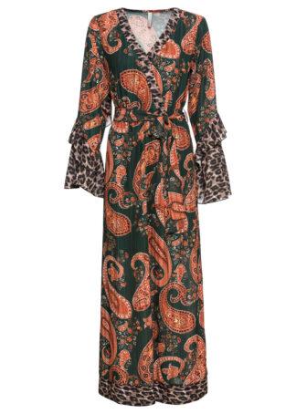 """Długa sukienka szyfonowa z rękawami z falbanami bonprix zielono-pomarańczowy """"paisley"""""""