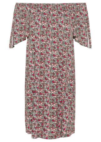 Sukienka z dekoltem carmen bonprix oliwkowo-jasnoróżowy w kwiaty