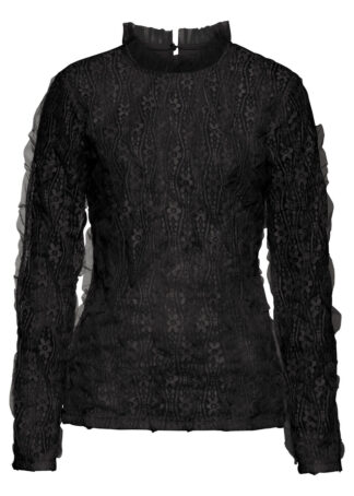 Bluzka z koronką bonprix czarny