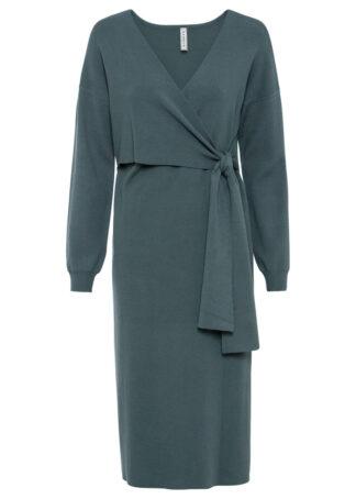 Sukienka dzianinowa z efektem założenia kopertowego bonprix zielony eukaliptusowy
