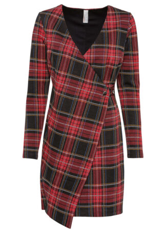 Sukienka z efektem założenia kopertowego bonprix czerwono-czarny w kratę