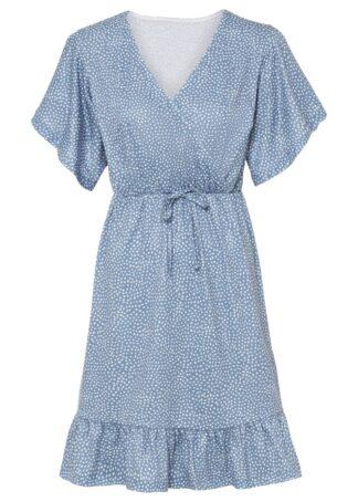 Sukienka z dżerseju z nadrukiem bonprix jasnoniebieski w kwiaty