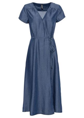 "Sukienka dżinsowa kopertowa bonprix niebieski ""stone"""