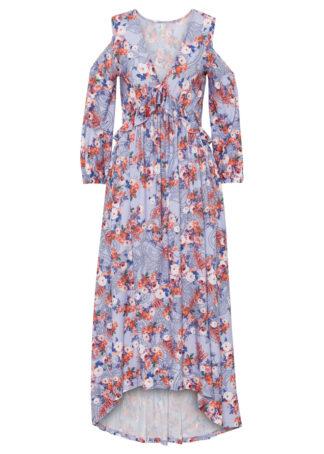 Sukienka cold-shoulder bonprix jasnoniebiesko-czerwony w kwiaty