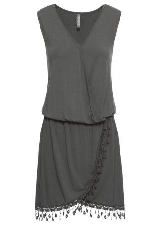 Sukienka z dżerseju z założeniem kopertowym bonprix zielony
