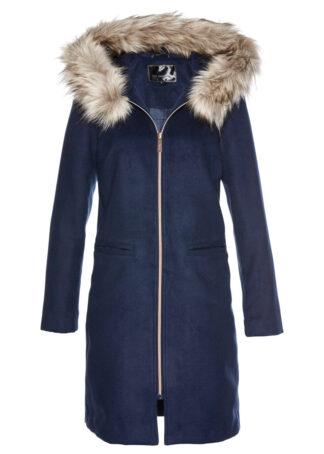 Krótki płaszcz z kołnierzem ze sztucznego futerka bonprix ciemnoniebieski