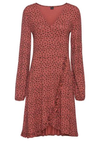 Sukienka z dżerseju z falbaną bonprix brązowy marsala - czarny w kwiaty