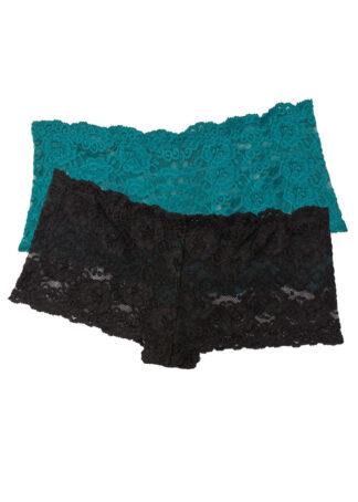 """Figi """"panty"""" z koronki (2 pary) bonprix czarno-kobaltowo-turkusowy"""