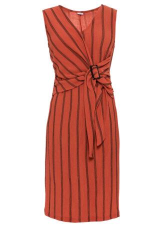 Sukienka z dżerseju bonprix cynamonowy w paski