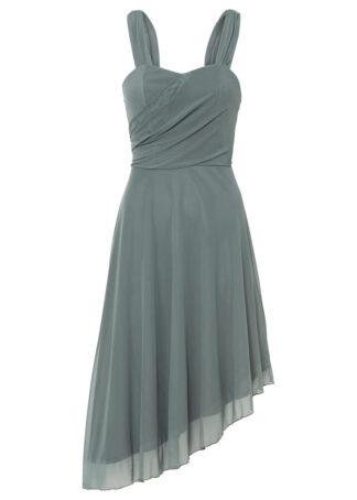 Sukienka z siatkowego materiału bonprix szary ołowiany