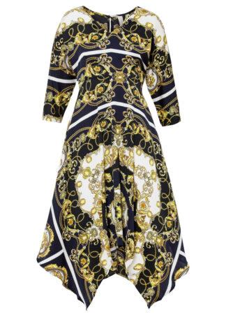 Sukienka z nadrukiem bonprix ciemnoniebiesko-czarny z nadrukiem