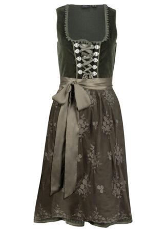 Sukienka ludowa z materiału w optyce aksamitu bonprix nocny oliwkowy