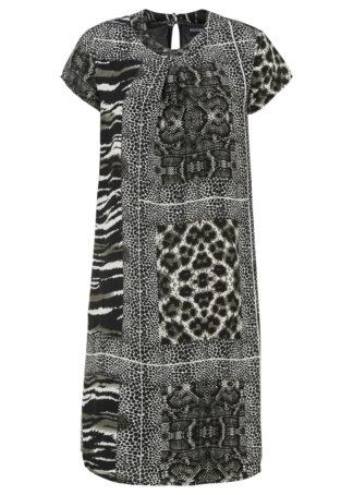 Sukienka w animalistyczny deseń bonprix czarno-beżowy w paski zebry