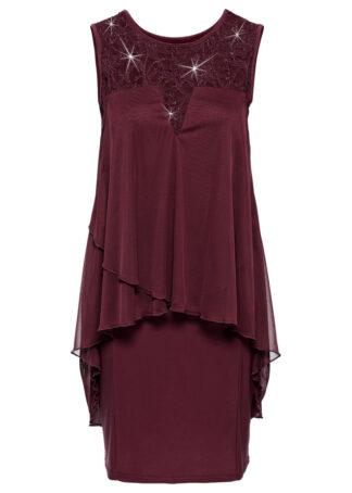 Sukienka z dżerseju i szyfonu bonprix ciemnoczerwony