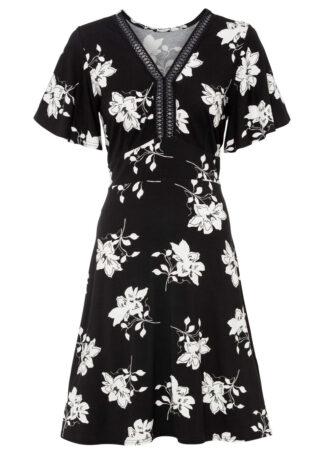 Sukienka z dżerseju z nadrukiem bonprix czarny w kwiaty