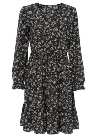 Sukienka bonprix czarno-biały w kwiaty