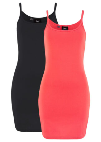 Sukienka (2 szt.) bonprix koralowy + czarny