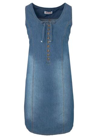 Sukienka dżinsowa w fasonie o linii litery A bonprix niebieski