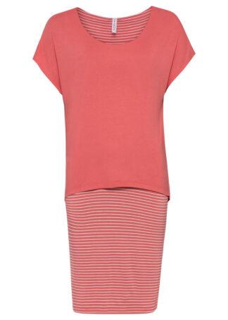 Sukienka z dżerseju z częścią spódnicową w paski bonprix koralowy w paski