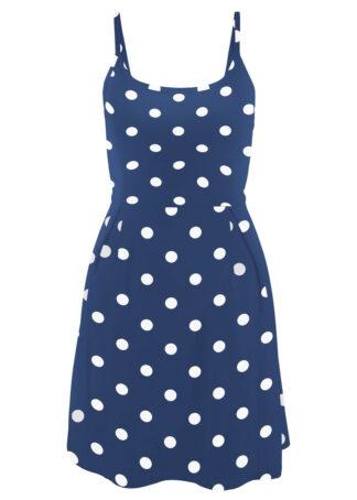 Sukienka z dżerseju z nadrukiem bonprix kobaltowo-biały w kropki