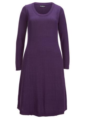Sukienka dzianinowa poszerzana dołem bonprix ciemny lila