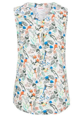 Bluzka bez rękawów bonprix biel wełny w kwiaty