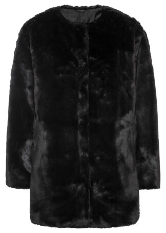 Płaszcz ze sztucznego futerka bonprix czarny