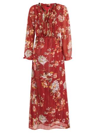 Długa sukienka z nadrukiem bonprix czerwonobrązowy w kwiaty