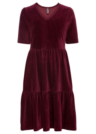 Sukienka sztruksowa bonprix czerwony rubinowy