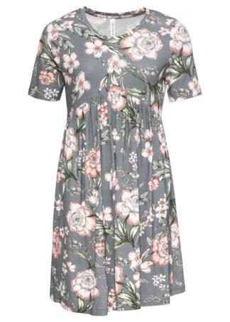 Sukienka shirtowa w kwiaty bonprix szaro-łososiowy z nadrukiem.