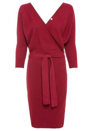 Sukienka dzianinowa z założeniem kopertowym bonprix ciemnoczerwony