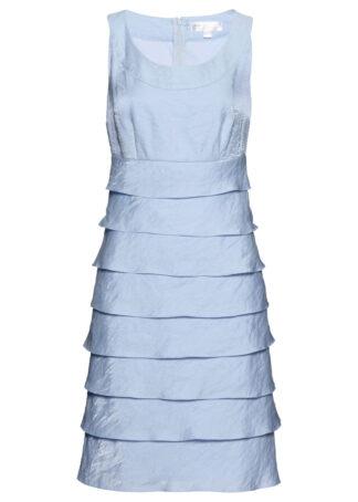 Sukienka z tafty z falbanami bonprix pudrowy niebieski