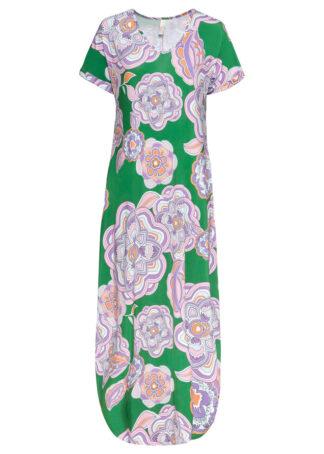 Sukienka midi z kieszeniami bonprix zieleń trawy - jasny lila - bladoróżowy w kwiaty