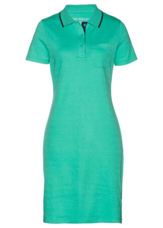 Sukienka shirtowa polo bonprix zielony oceaniczny - ciemnoniebieski