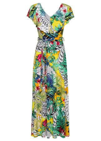 Długa sukienka z nadrukiem bonprix zielono-żółty w roślinny wzór
